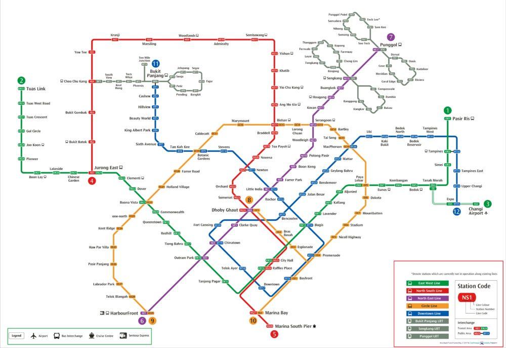 Bản đồ MRT Singapore mới nhất