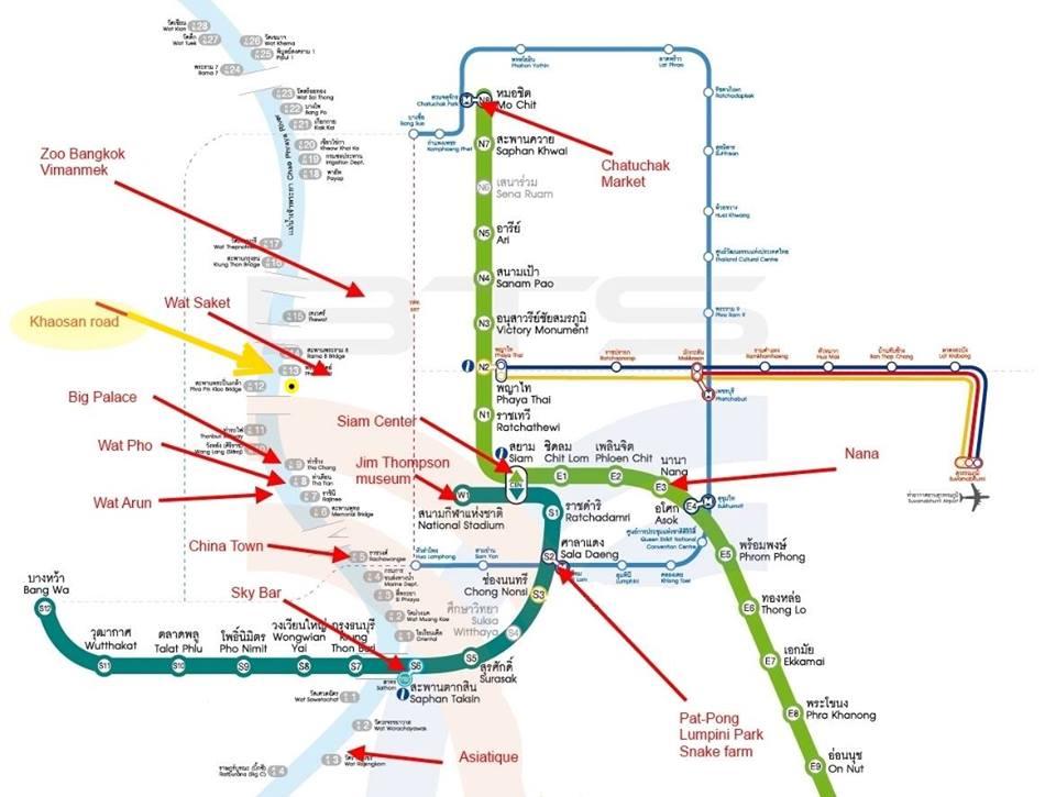 Khuyến mãi cái bản đồ BTS Bangkok để mấy bạn vi vu cho dễ nè